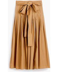 J.Crew - Pleated Cotton Poplin Midi Skirt - Lyst