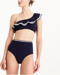 J.Crew - High-waisted Piqué Nylon Bikini Bottom With Rickrack - Lyst