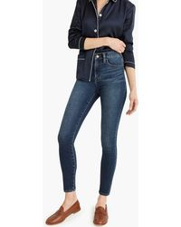 "J.Crew - 9"" High-rise Knit Toothpick Jean In Blue Indigo Wash - Lyst"