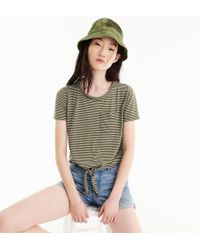 J.Crew - Knotted Pocket T-shirt In Stripes - Lyst