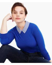 J.Crew - Tippi Sweater With Striped Collar - Lyst