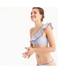J.Crew - Seersucker One-shoulder Bikini Top With Rickrack - Lyst