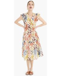 J.Crew - Point Sur Flutter-sleeve Midi Dress In Printed Cotton Voile - Lyst