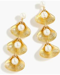 J.Crew - Shell-and-pearl Drop Earrings - Lyst