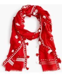 J.Crew - Summerweight Embroidered Pom-pom Scarf - Lyst