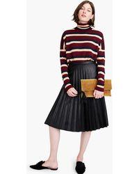 J.Crew - Faux-leather Pleated Midi Skirt - Lyst