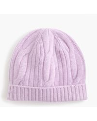05ad2c803c1a8 J.Crew Ribbed Cable-knit Beanie In Everyday Cashmere in Pink - Lyst