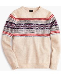 J.Crew - Lambswool Crewneck Sweater In Heather Fair Isle - Lyst