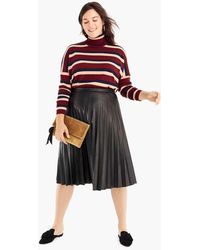 J.Crew - Faux-leather Pleated Midi Skirt - Lyst