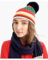 J.Crew - Pom Pom Hat In Striped Everyday Cashmere - Lyst