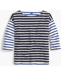 J.Crew - Boatneck T-shirt In Mixed Stripes - Lyst