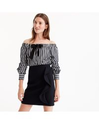 J.Crew - Petiteruffle Mini Skirt In Double-serge Wool - Lyst