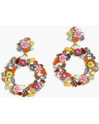 J.Crew - Colorful Floral Hoop Earrings - Lyst