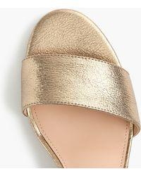 J.Crew - Strappy Block-heel Sandals (60mm) In Metallic Gold Leather - Lyst