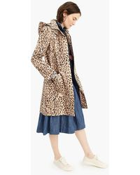 a8fad1588cc3 J.Crew - Leopard-print Trench Coat With Removable Hood - Lyst