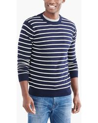 J.Crew - Striped Crewneck Sweater In Cotton - Lyst