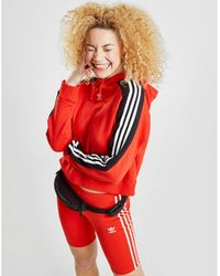 adidas Originals - 3-stripes Panel Crop Overhead Hoodie - Lyst
