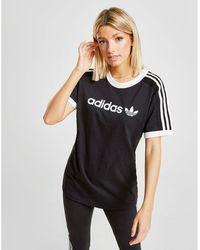 5f992d92 adidas Originals 3-stripes Graphic Crop T-shirt in Black - Lyst