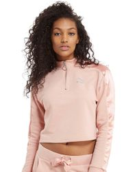 PUMA - Satin 1/2 Zip Top - Lyst