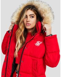 SIKSILK - Fur Hood Padded Jacket - Lyst