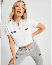 Ellesse Piping Crop Polo Shirt - White
