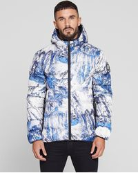 Good For Nothing - Hooded Puffer Jacket In Alp Print - Lyst