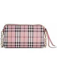 f2d8e8b3388d Lyst - Burberry Horseferry Check   Leather Clutch Bag in Pink