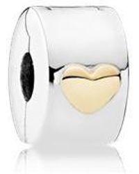 PANDORA - Classic Heart Fixed Clip Charm - Lyst