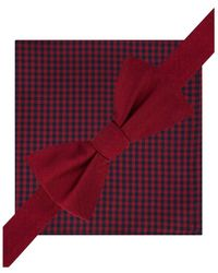 Tommy Hilfiger - Mens Silk Gingham Bow Tie And Pkt Sq Neck Tie Set Redchk Short - Lyst