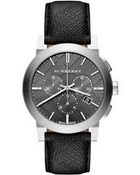 Burberry - Unisex Bu9359 'beat Check' Chronograph Black Leather Watch - Lyst