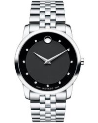Movado - Museum Classic 11 Diamonds Sapphire Black Dial Silver Watch 0606878 - Lyst