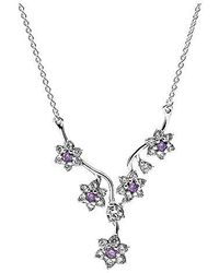 PANDORA - Forget Me Not Purple Necklace 590519acz-45 - Lyst