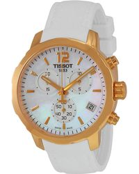 Tissot - Quickster Chronograph Mother Of Pearl Dial White Silicone Sports Watch T0954173711700 - Lyst