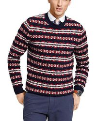 Tommy Hilfiger - Snowflake Crewneck Sweater Xx-large Navy Red - Lyst