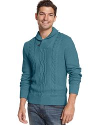 Tommy Hilfiger - George Sweater Xxl 2xl Larkspur Blue Cable Knit Shawl Collar $98 - Lyst