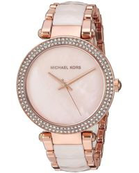 Michael Kors - Mk6402 'parker' Crystal Two-tone Stainless Steel And Acetate Watch - Lyst