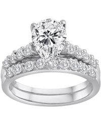 Swarovski - Pure Perfection Certified Bridal Ring With Pear-shaped Center Stone Made With Zirconia - Lyst
