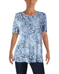 CALVIN KLEIN 205W39NYC - Printed Cold Shoulder Casual Top - Lyst
