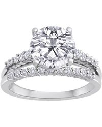 Swarovski - Pure Perfection Certified Bridal Ring With Brilliant Center Stone Made With Zirconia - Lyst
