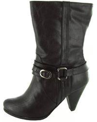 8a675841b Steve Madden Rhian Patent Open Toe Platform Boots in Black - Lyst