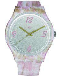 Swatch - Pinkquarelle Suow151 Silicone Quartz Fashion Watch - Lyst