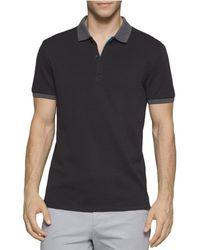 Calvin Klein   Pique Interlock Rugby Polo Shirt Black L   Lyst