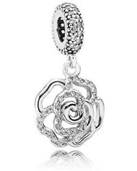 PANDORA - Mother's Day Shimmering Rose Openwork Charm In 925 Sterling Silver - Lyst