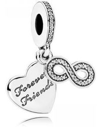 650b38d76 PANDORA - 791948cz Forever Friends Heart Silver Dangle With Clear Cubic  Zirconia - Lyst