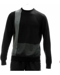 Calvin Klein - 40hs700 Color Blocked Black Crewneck Sweater Sz. Xl - Lyst
