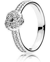PANDORA - Sparkling Love Knot Clear Cz Ring Size 7 - Lyst