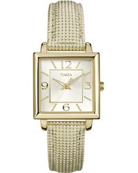 Timex - Classic Dress Watch | Square Case Metallic Leather Strap - Lyst
