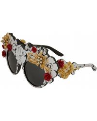 95f36f9b26 Lyst - Miu Miu - Glitter Embellished Cat Eye Sunglasses - Womens ...