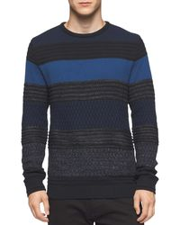 CALVIN KLEIN 205W39NYC - Texture Striped Crewneck Sweater Black And Blue Combo Small S - Lyst