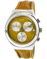 Swatch - Irony Ycs582 Leather Swiss Quartz Fashion Watch - Lyst